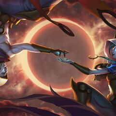Cosmic Dawn Rakan and Cosmic Dusk Xayah Splash Concept (by Riot Artist <a href=