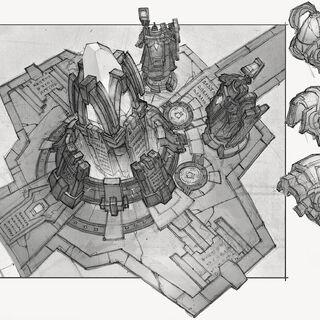 Wczesny szkic Nexusa z Summoner's Rift