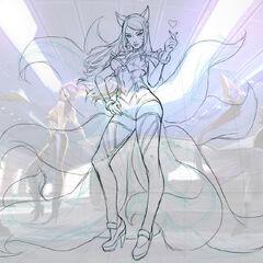 Concepto de la ilustración de Ahri K/DA 1 (por el artista de Riot, <a class=