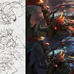 Dragonslayer Diana and Olaf Splash Concept 1 (by Riot Contracted Artist <a rel=