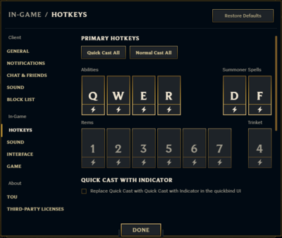 Hotkeys and Commands LoL Menu