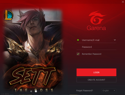Garena Platform Login Screen
