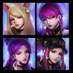 Concepto de los íconos de K/DA (por el artista de Riot, <a rel=