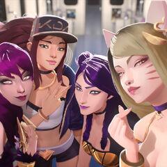 Concepto del grupo K/DA 3 (por el artista de Riot, <a rel=