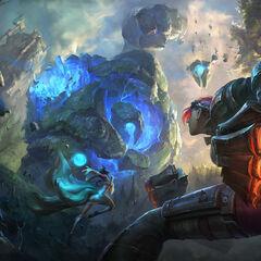 Champions in battle 8 (by Riot Artist Suke 'hugehugesword' Su)