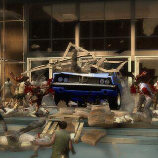 Sobreviventes escapando en el auto de <a href=