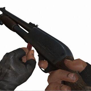 Francis cargando la escopeta
