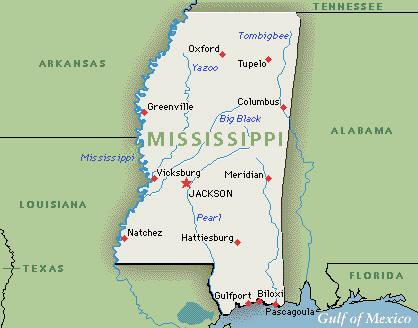 Us Map Of Mississippi - Us map of mississippi
