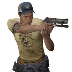 Ellis con una pistola Magnum