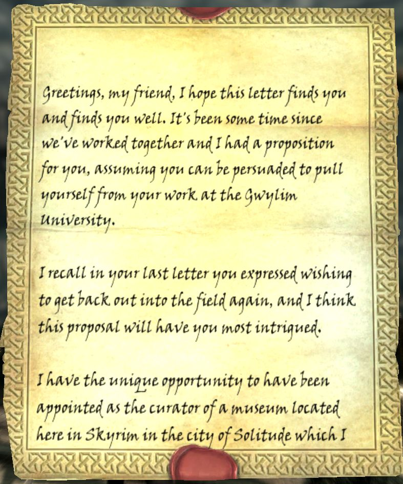 Letter from Auryen Legacy of the Dragonborn