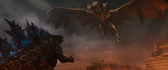 GKOTM - King Ghidorah flying over to pick up Godzilla