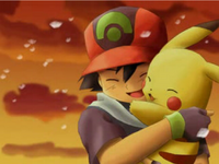 Ash and pikachu hugging