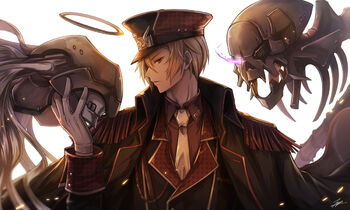 Konachan.com - 219121 all male blonde hair dante (divine gate) divine gate halo hat male military orange eyes robot short hair signed tagme (artist) tie uniform