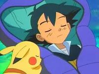 Ash and pikachu sleeping