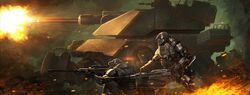 1600x611 15401 War Theme 2d sci fi tank soldiers war picture image digital art