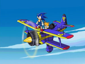 Sonic and tails on plane
