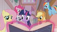 Season 8 promo image - Mane Six reading a book