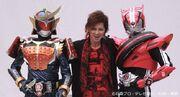 Mitsuru Matsuoka with Kamen Rider Gaim and Kamen Rider Drive