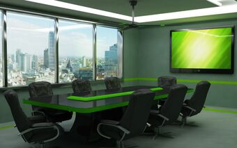 Furniture-meeting-room-with-black-glass-and-green-phospor-conference-table-combined-with-black-leather-upholstered-swivel-chairs-under-ceiling-fan-modern-conference-room-chairs-728x455