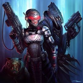 640x640 6810 Bounty Hunters 2d sci fi girl alien woman guns weapons armor picture image digital art