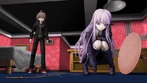Danganronpa 1 CG - Makoto Naegi and Kyoko Kirigiri investigating Makoto's dorm