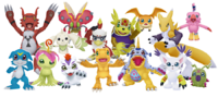Agumon and his friends in Digimon series
