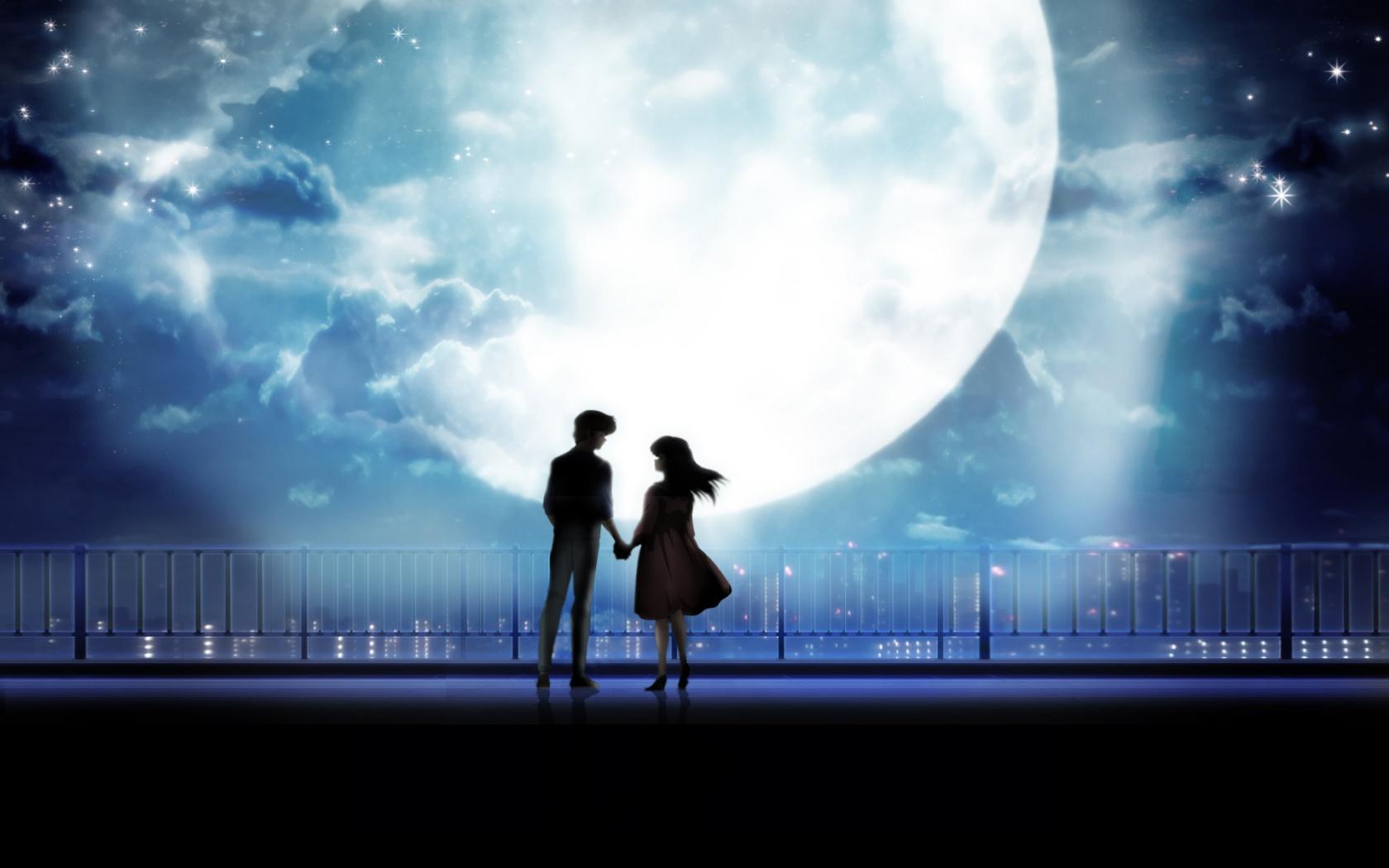 Anime Art Couple Holding Hands Moonlight Desktop