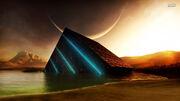 Glowing-cube-in-the-ocean-planet-fantasy-1920x1080-wallpaper408830