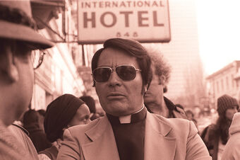 Jim Jones in front of the International Hotel