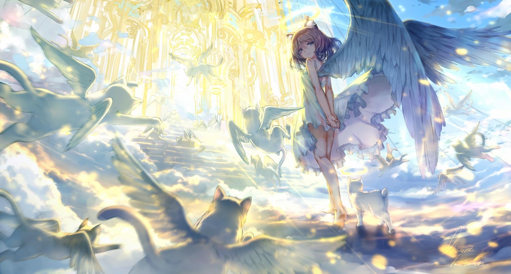 Anime girl angel wings heaven stairs light dress anime 1894 jpg