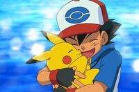 Ash and pikachu hug
