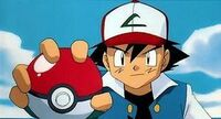 Ash with pokeball