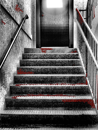 Bloody stairs with door by moon willowstock