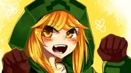 Mobblondes video games gloves long hair creeper yellow eyes minecraft hoodie open mouth anime girls mob www.wall321.com 30
