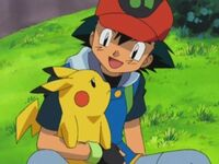 Ash and pikachu sitting down