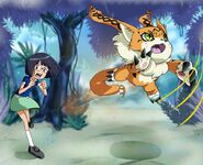 Young Meiko Mochizuki and Meicoomon in Hang in There, Meicoomon