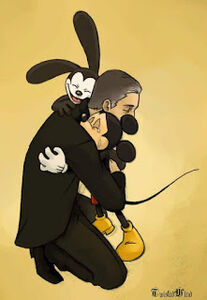 Mickey and oswald hug walt disney