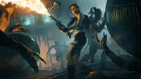 Lara with flamethrower