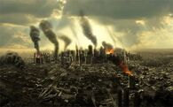 City-chaos-collapse-fire burning