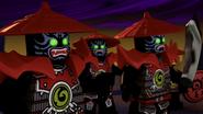 Steinsamuraisoldaten dunkle Uhr