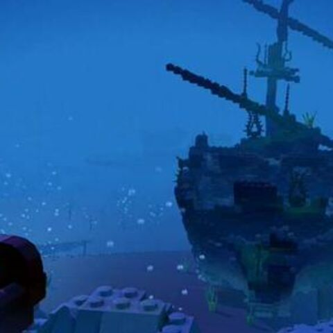 A Pirate sleeps in Davy Jones' locker, near the sunken wreck of his ship.