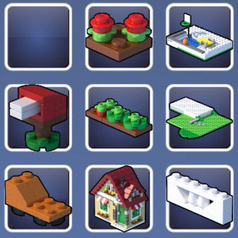 Props appearing in the LEGO Creator: Changing Seasons playset.