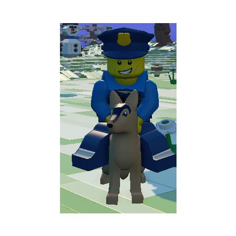 Policeman riding a dog!