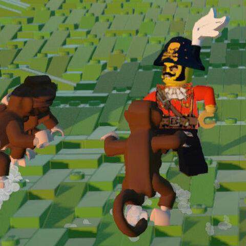 Monkeys swarming a Pirate.
