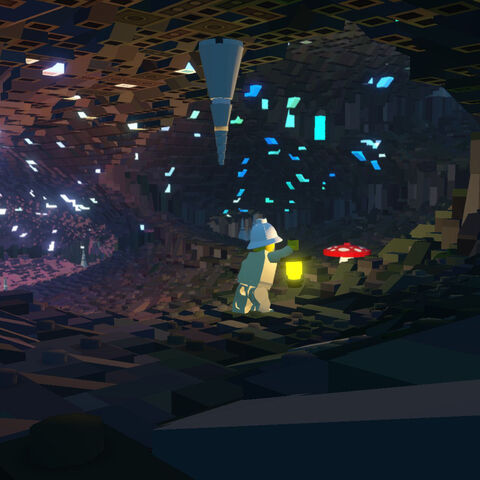 Exploring a cave with a lantern.