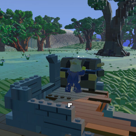 The King prepares to open an Item Chest in the Ruins.