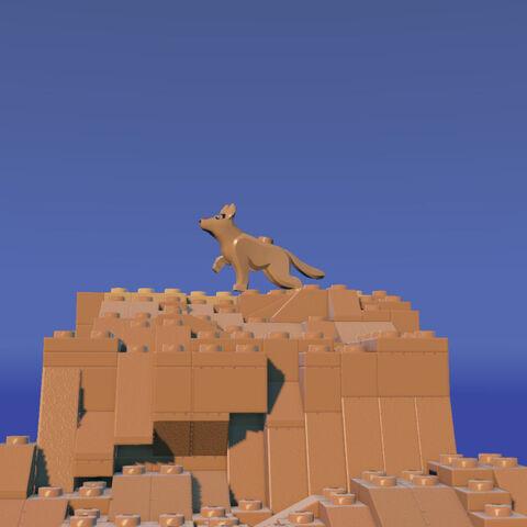 Dog on a mesa top.