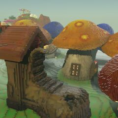 Mushroom Village with a Giant Shoe