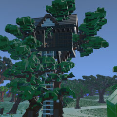 A Treehouse with an item chest inside.