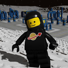 Spaceman stylin' in Black, in front of a Space City.